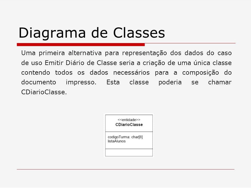 Diagrama de Classes Uma primeira alternativa para representação dos dados do caso de uso Emitir Diário de Classe seria a criação de uma única classe c