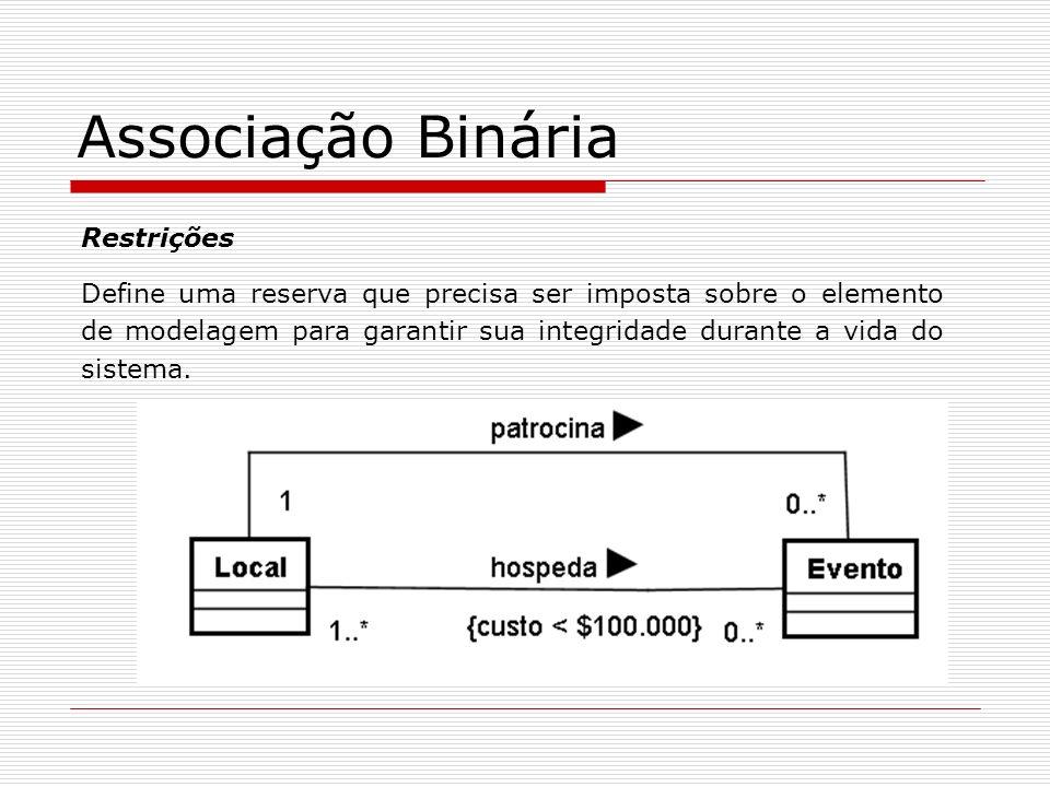Associação Binária Restrições Define uma reserva que precisa ser imposta sobre o elemento de modelagem para garantir sua integridade durante a vida do