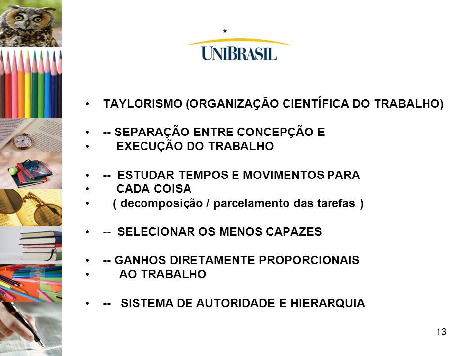13 TAYLORISMO (ORGANIZAÇÃO CIENTÍFICA DO TRABALHO) -- SEPARAÇÃO ENTRE CONCEPÇÃO E EXECUÇÃO DO TRABALHO -- ESTUDAR TEMPOS E MOVIMENTOS PARA CADA COISA
