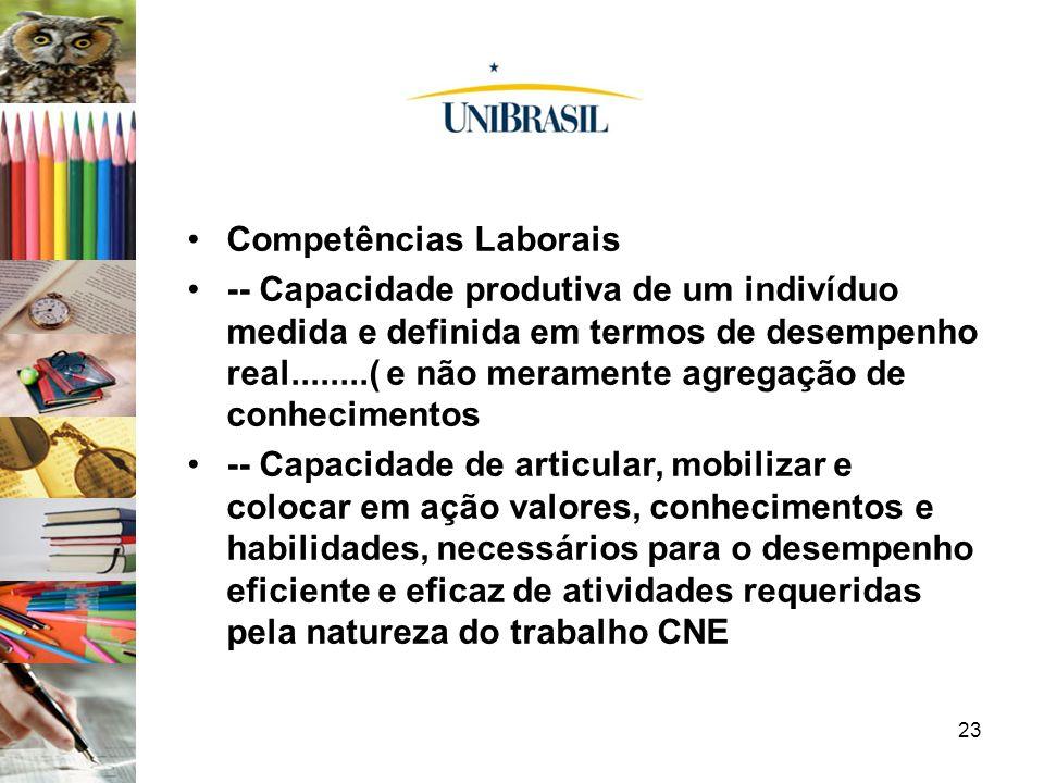23 Competências Laborais -- Capacidade produtiva de um indivíduo medida e definida em termos de desempenho real........( e não meramente agregação de
