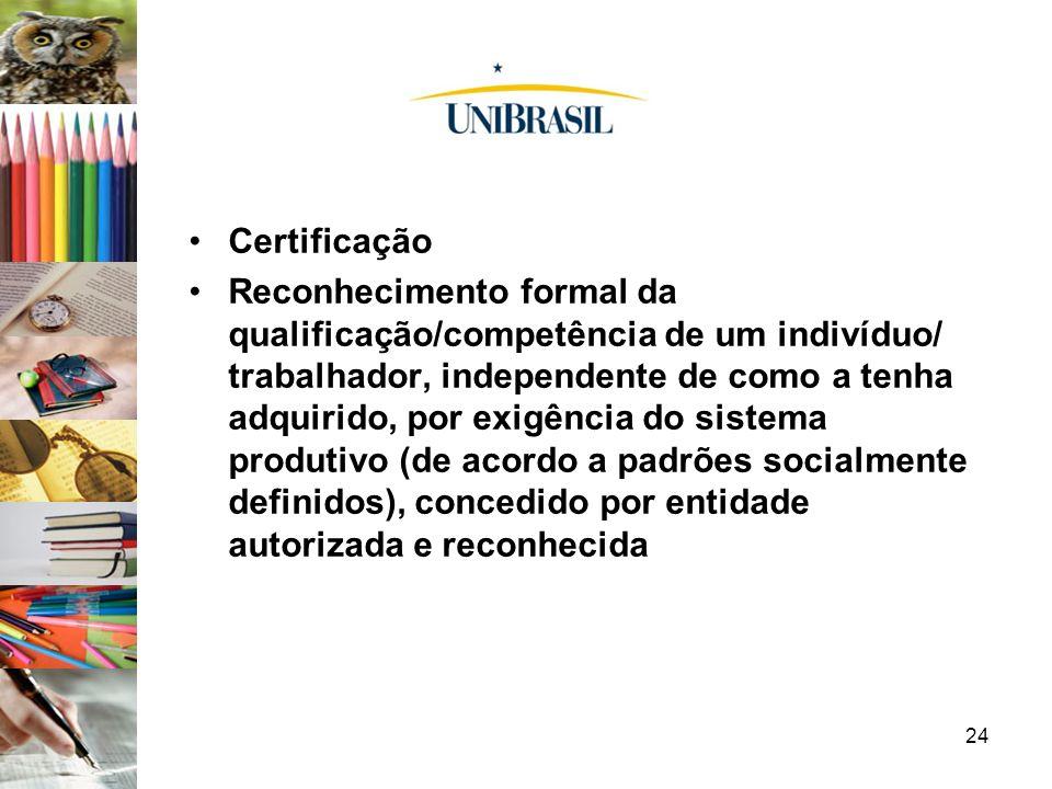 24 Certificação Reconhecimento formal da qualificação/competência de um indivíduo/ trabalhador, independente de como a tenha adquirido, por exigência
