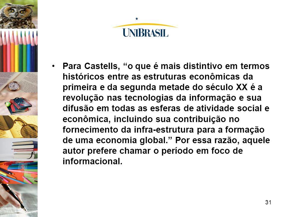 31 Para Castells, o que é mais distintivo em termos históricos entre as estruturas econômicas da primeira e da segunda metade do século XX é a revoluç