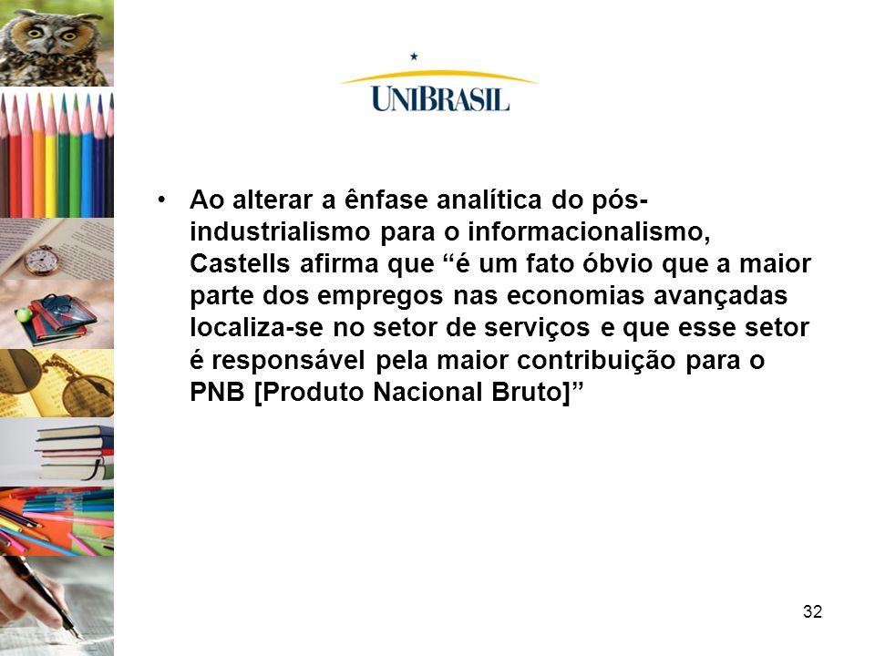 32 Ao alterar a ênfase analítica do pós- industrialismo para o informacionalismo, Castells afirma que é um fato óbvio que a maior parte dos empregos n