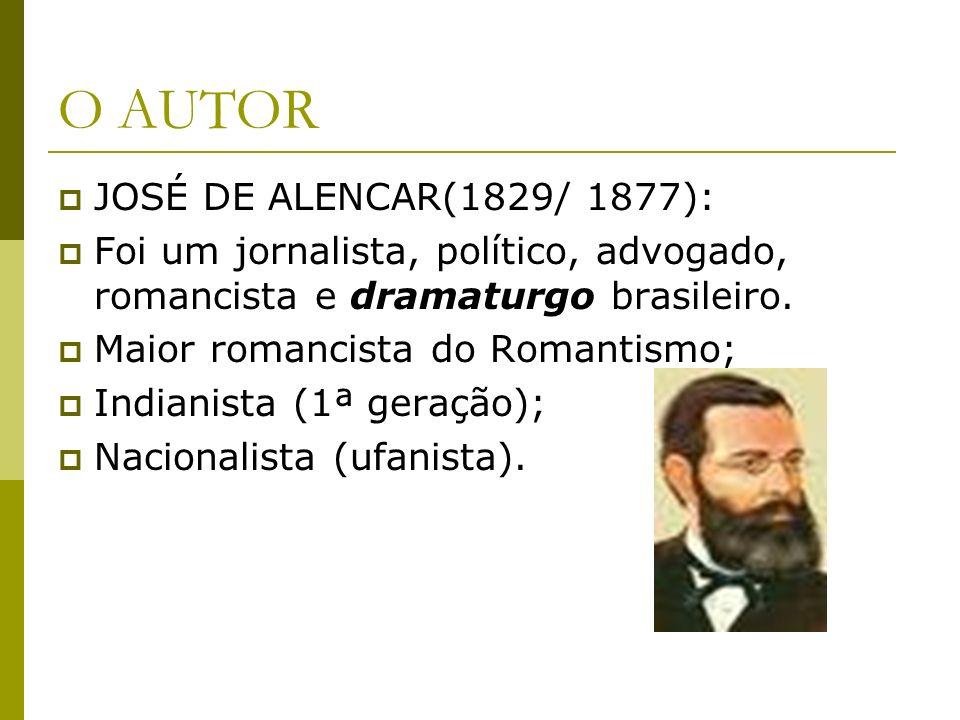 O AUTOR JOSÉ DE ALENCAR(1829/ 1877): Foi um jornalista, político, advogado, romancista e dramaturgo brasileiro. Maior romancista do Romantismo; Indian