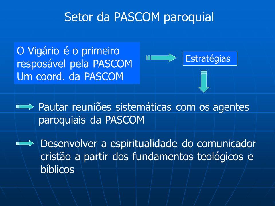 Setor da PASCOM paroquial O Vigário é o primeiro resposável pela PASCOM Um coord. da PASCOM Estratégias Pautar reuniões sistemáticas com os agentes pa