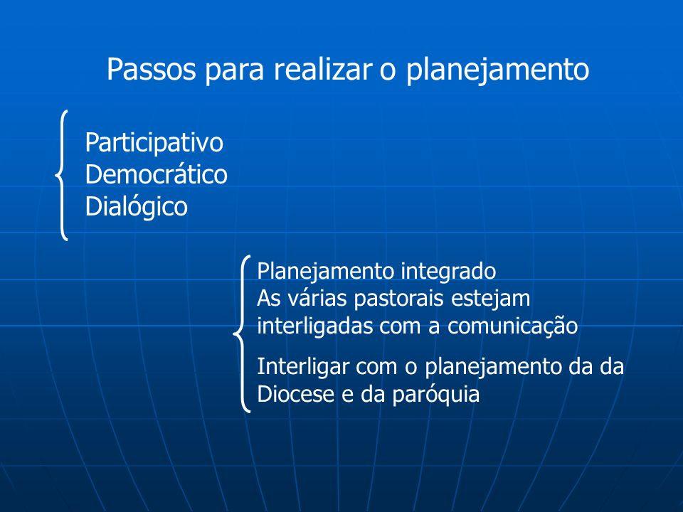 Passos para realizar o planejamento Participativo Democrático Dialógico Planejamento integrado As várias pastorais estejam interligadas com a comunica
