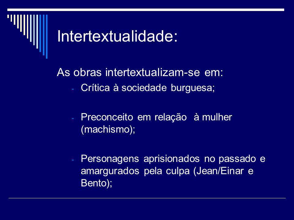 Intertextualidade: As obras intertextualizam-se em: - Crítica à sociedade burguesa; - Preconceito em relação à mulher (machismo); - Personagens aprisi