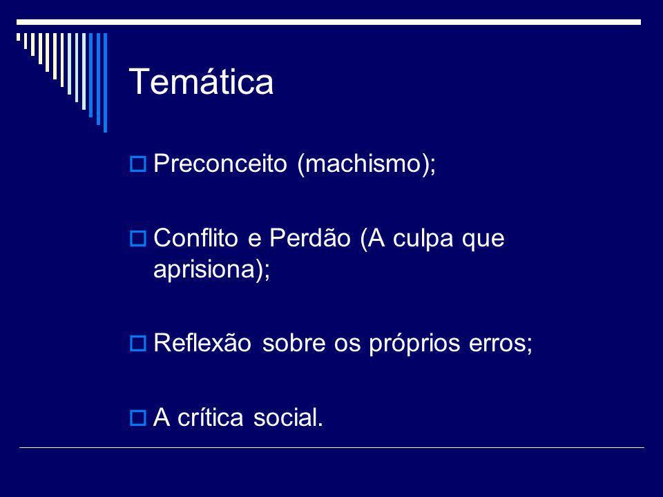 Temática Preconceito (machismo); Conflito e Perdão (A culpa que aprisiona); Reflexão sobre os próprios erros; A crítica social.