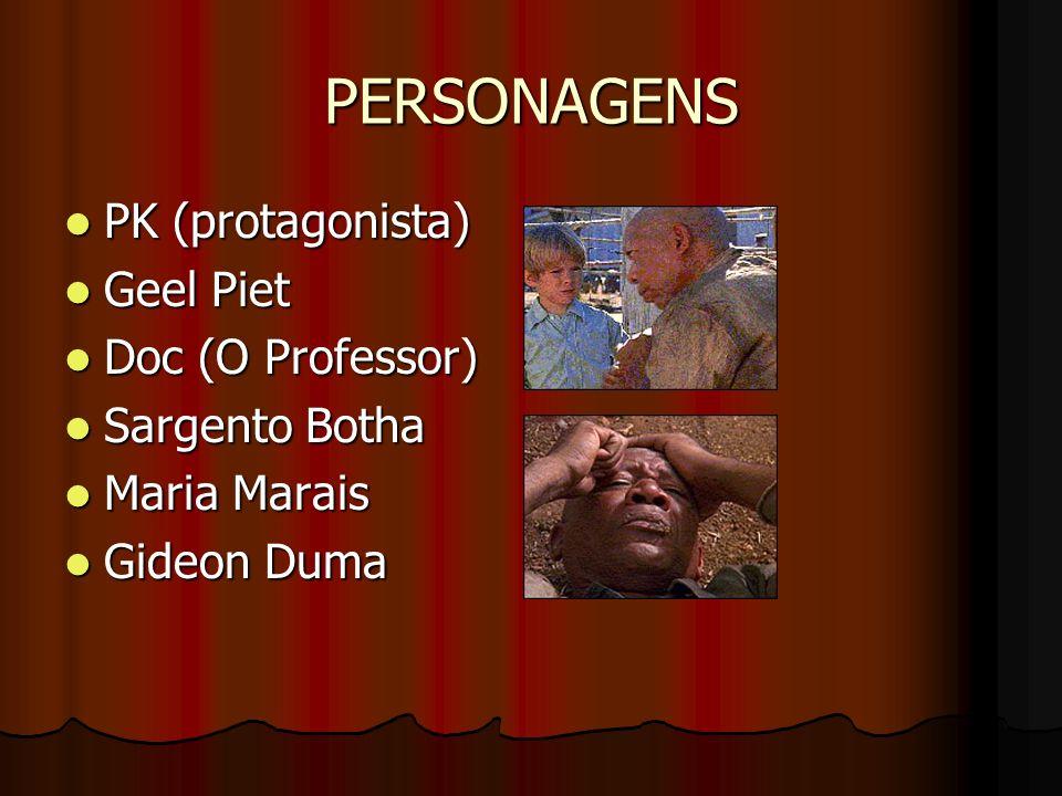 PERSONAGENS PK (protagonista) PK (protagonista) Geel Piet Geel Piet Doc (O Professor) Doc (O Professor) Sargento Botha Sargento Botha Maria Marais Mar