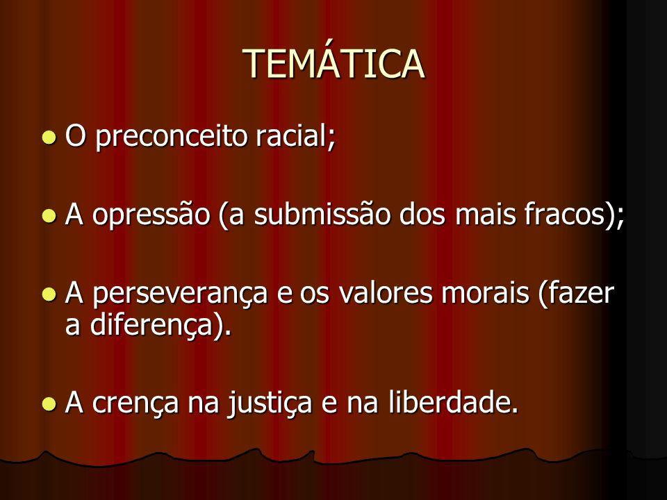 TEMÁTICA O preconceito racial; O preconceito racial; A opressão (a submissão dos mais fracos); A opressão (a submissão dos mais fracos); A perseveranç