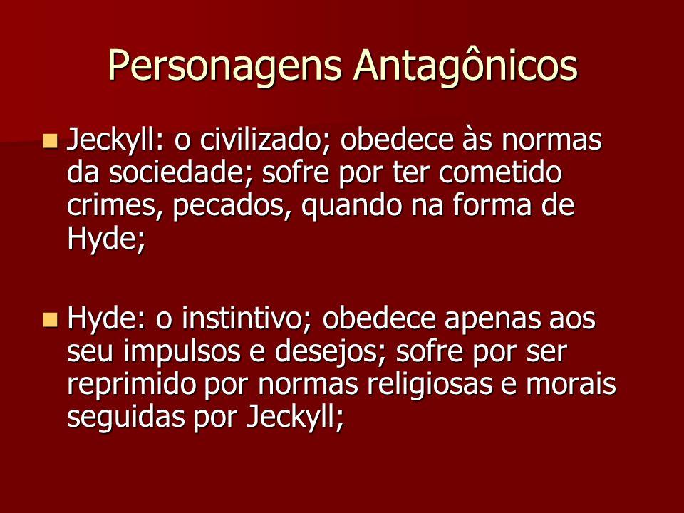 Personagens Antagônicos Jeckyll: o civilizado; obedece às normas da sociedade; sofre por ter cometido crimes, pecados, quando na forma de Hyde; Jeckyll: o civilizado; obedece às normas da sociedade; sofre por ter cometido crimes, pecados, quando na forma de Hyde; Hyde: o instintivo; obedece apenas aos seu impulsos e desejos; sofre por ser reprimido por normas religiosas e morais seguidas por Jeckyll; Hyde: o instintivo; obedece apenas aos seu impulsos e desejos; sofre por ser reprimido por normas religiosas e morais seguidas por Jeckyll;