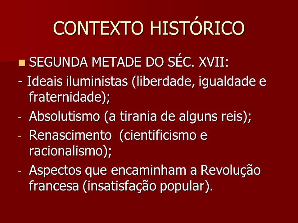 CONTEXTO HISTÓRICO SEGUNDA METADE DO SÉC.XVII: SEGUNDA METADE DO SÉC.