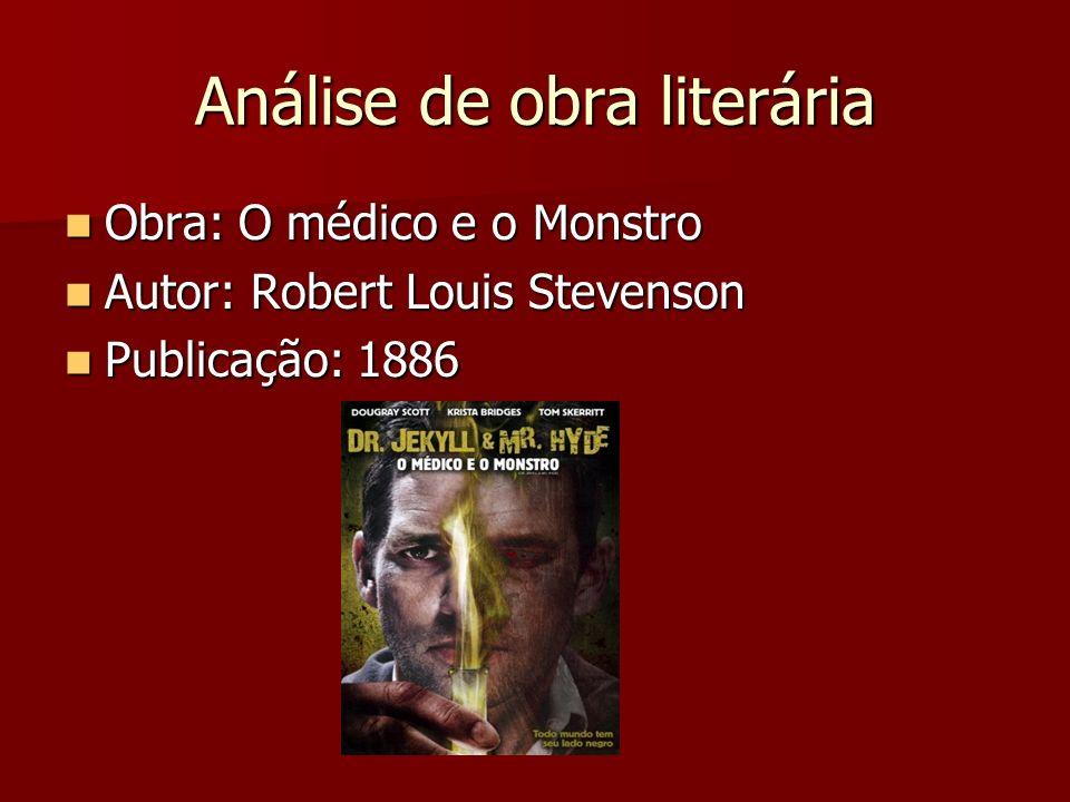 Análise de obra literária Obra: O médico e o Monstro Obra: O médico e o Monstro Autor: Robert Louis Stevenson Autor: Robert Louis Stevenson Publicação: 1886 Publicação: 1886