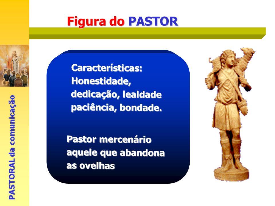 Figura do PASTOR PASTORAL da comunicação Características: Honestidade, dedicação, lealdade paciência, bondade. Pastor mercenário aquele que abandona a