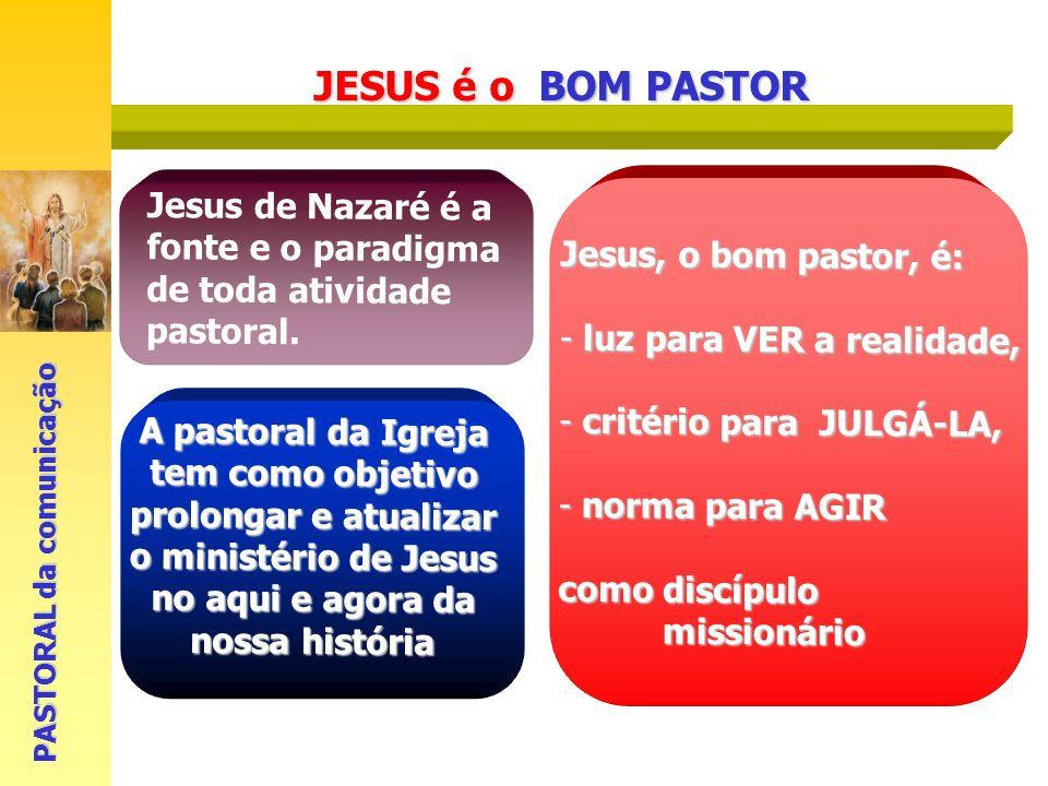 Jesus de Nazaré é a fonte e o paradigma de toda atividade pastoral. A pastoral da Igreja tem como objetivo prolongar e atualizar o ministério de Jesus