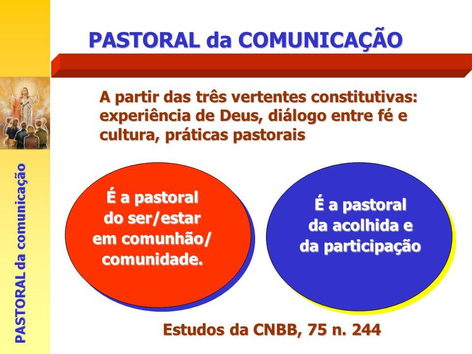 PASTORAL da COMUNICAÇÃO É a pastoral do ser/estar em comunhão/ comunidade. PASTORAL da comunicação É a pastoral da acolhida e da participação Estudos