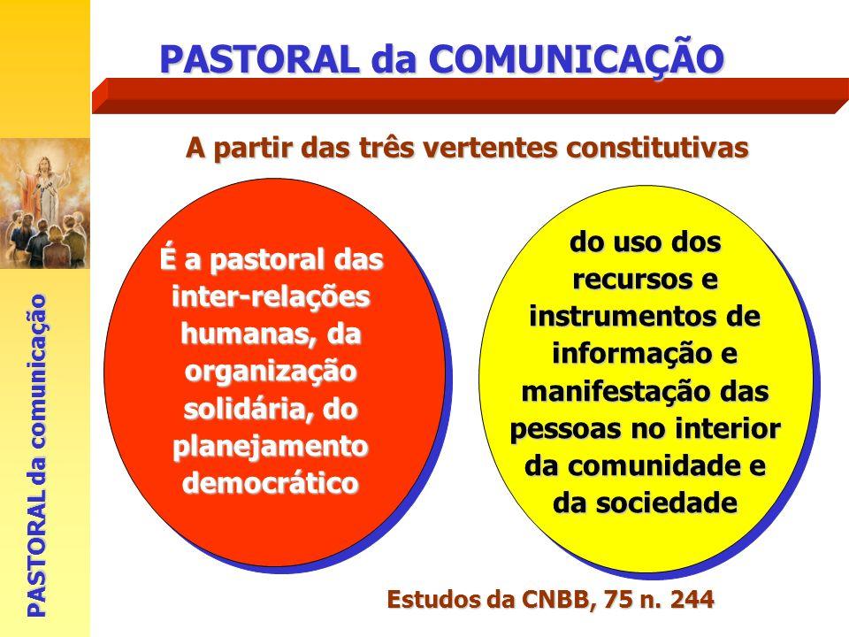 PASTORAL da COMUNICAÇÃO É a pastoral das inter-relações humanas, da organização solidária, do planejamento democrático PASTORAL da comunicação do uso