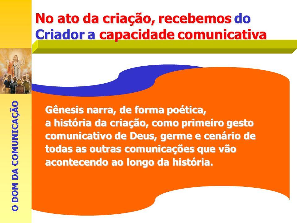No ato da criação, recebemos do Criador a capacidade comunicativa Gênesis narra, de forma poética, a história da criação, como primeiro gesto comunica