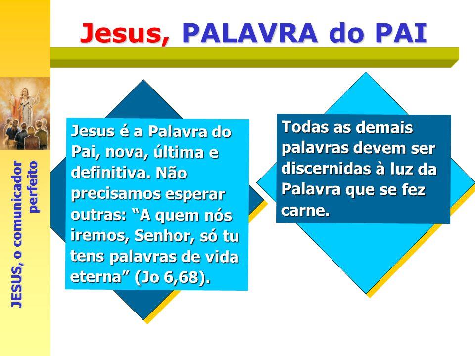 Jesus, PALAVRA do PAI Jesus é a Palavra do Pai, nova, última e definitiva. Não precisamos esperar outras: A quem nós iremos, Senhor, só tu tens palavr
