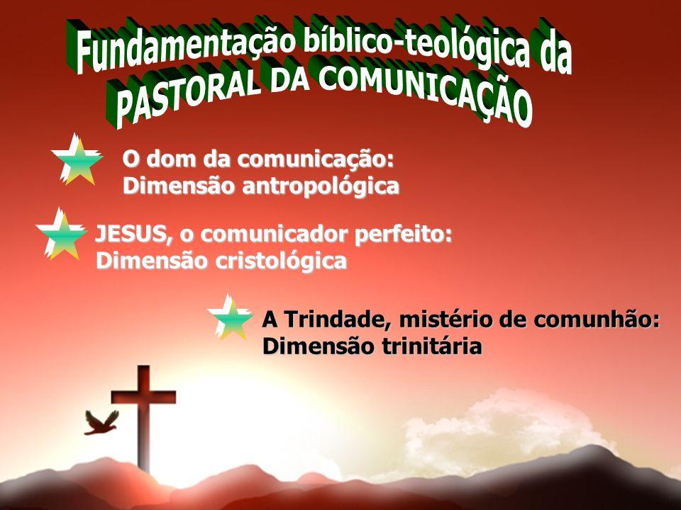 O dom da comunicação: Dimensão antropológica JESUS, o comunicador perfeito: Dimensão cristológica A Trindade, mistério de comunhão: Dimensão trinitári