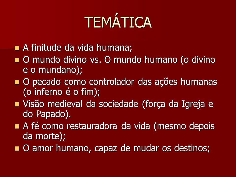 TEMÁTICA A finitude da vida humana; A finitude da vida humana; O mundo divino vs. O mundo humano (o divino e o mundano); O mundo divino vs. O mundo hu