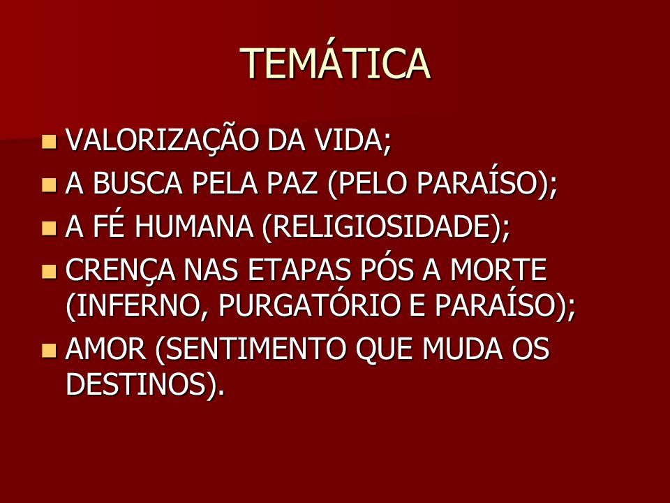 TEMÁTICA VALORIZAÇÃO DA VIDA; VALORIZAÇÃO DA VIDA; A BUSCA PELA PAZ (PELO PARAÍSO); A BUSCA PELA PAZ (PELO PARAÍSO); A FÉ HUMANA (RELIGIOSIDADE); A FÉ