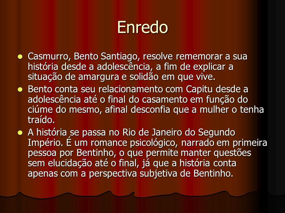 Enredo Casmurro, Bento Santiago, resolve rememorar a sua história desde a adolescência, a fim de explicar a situação de amargura e solidão em que vive