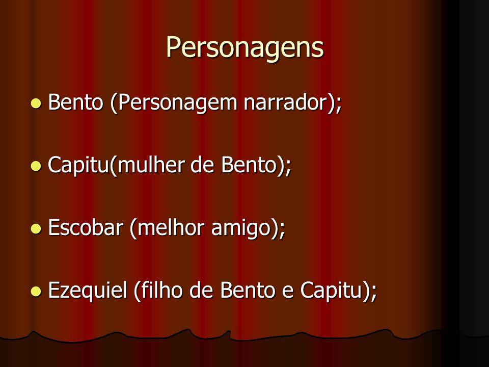 Personagens Bento (Personagem narrador); Bento (Personagem narrador); Capitu(mulher de Bento); Capitu(mulher de Bento); Escobar (melhor amigo); Escoba