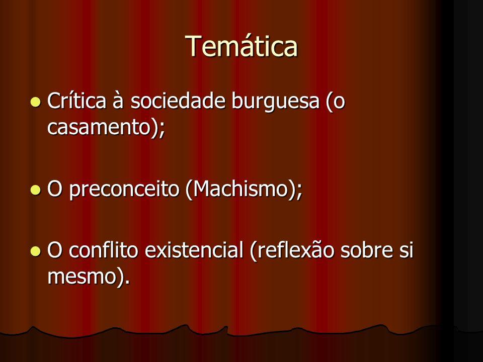 Temática Crítica à sociedade burguesa (o casamento); Crítica à sociedade burguesa (o casamento); O preconceito (Machismo); O preconceito (Machismo); O