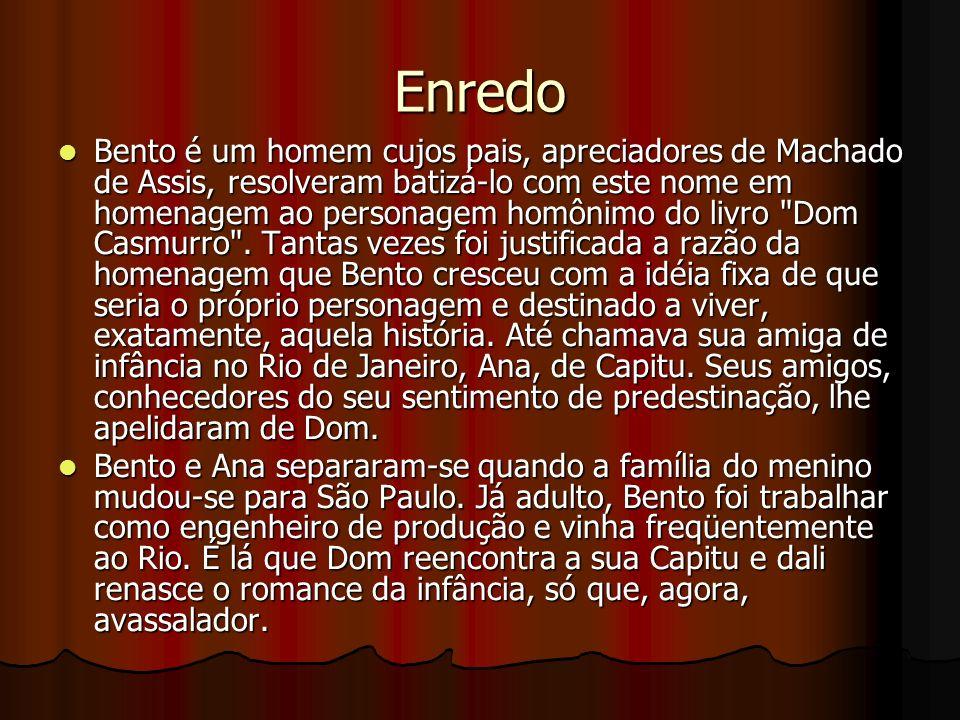 Enredo Bento é um homem cujos pais, apreciadores de Machado de Assis, resolveram batizá-lo com este nome em homenagem ao personagem homônimo do livro