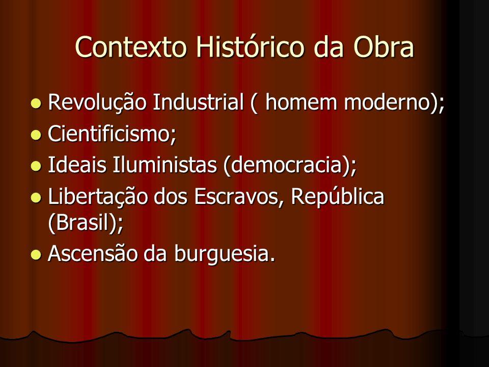 Contexto Histórico da Obra Revolução Industrial ( homem moderno); Revolução Industrial ( homem moderno); Cientificismo; Cientificismo; Ideais Iluminis