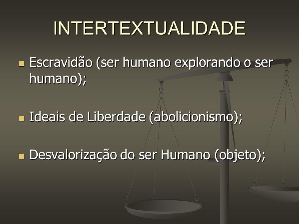 INTERTEXTUALIDADE Escravidão (ser humano explorando o ser humano); Escravidão (ser humano explorando o ser humano); Ideais de Liberdade (abolicionismo
