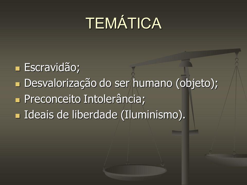 TEMÁTICA Escravidão; Escravidão; Desvalorização do ser humano (objeto); Desvalorização do ser humano (objeto); Preconceito Intolerância; Preconceito I