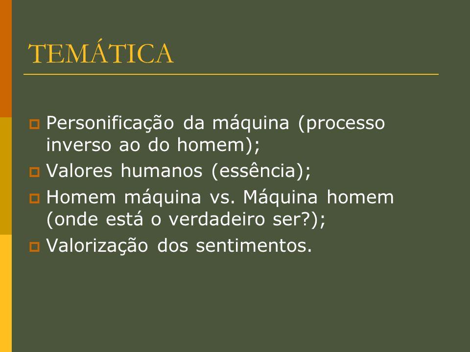 TEMÁTICA Personificação da máquina (processo inverso ao do homem); Valores humanos (essência); Homem máquina vs. Máquina homem (onde está o verdadeiro