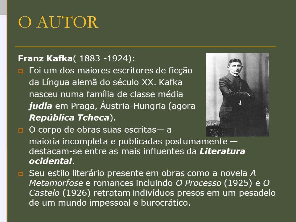 O AUTOR Franz Kafka( 1883 -1924): Foi um dos maiores escritores de ficção da Língua alemã do século XX. Kafka nasceu numa família de classe média judi