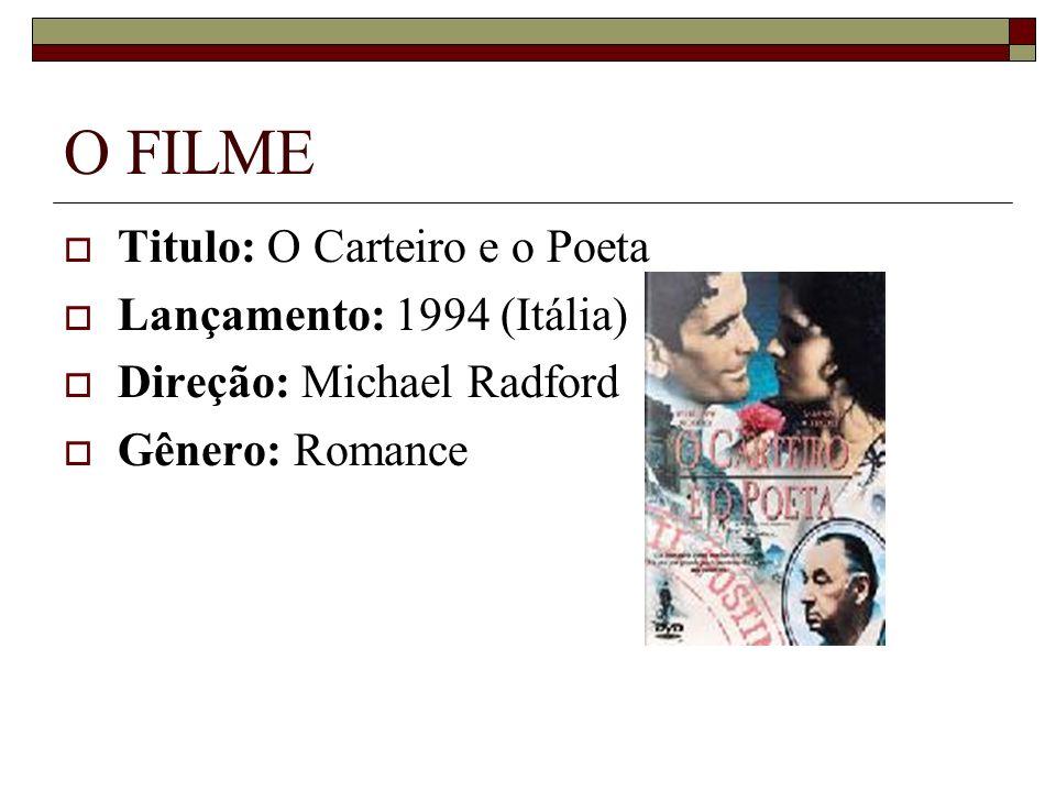 O FILME Titulo: O Carteiro e o Poeta Lançamento: 1994 (Itália) Direção: Michael Radford Gênero: Romance