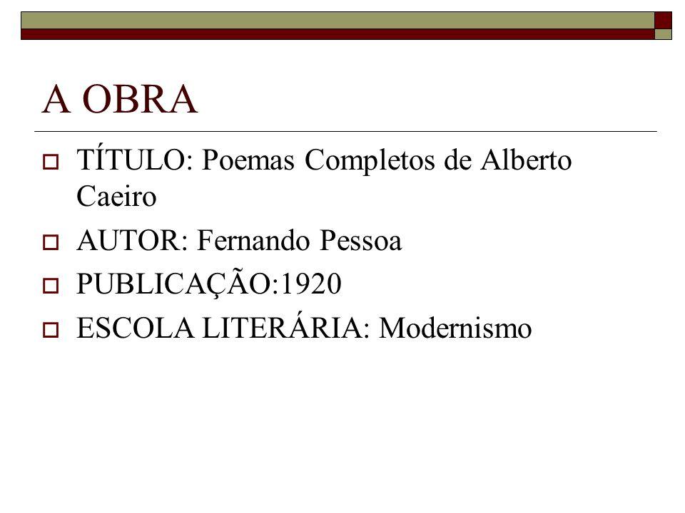 A OBRA TÍTULO: Poemas Completos de Alberto Caeiro AUTOR: Fernando Pessoa PUBLICAÇÃO:1920 ESCOLA LITERÁRIA: Modernismo