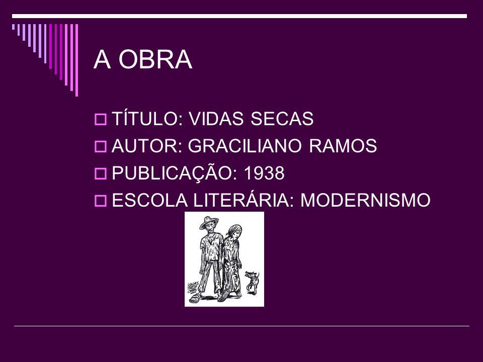 A OBRA TÍTULO: VIDAS SECAS AUTOR: GRACILIANO RAMOS PUBLICAÇÃO: 1938 ESCOLA LITERÁRIA: MODERNISMO