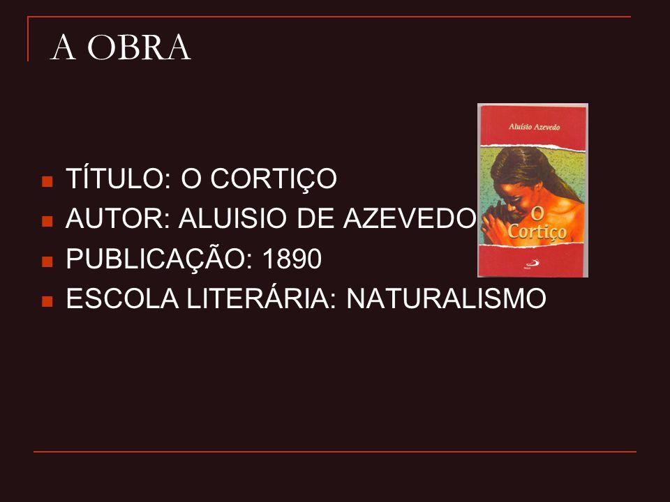 A OBRA TÍTULO: O CORTIÇO AUTOR: ALUISIO DE AZEVEDO PUBLICAÇÃO: 1890 ESCOLA LITERÁRIA: NATURALISMO