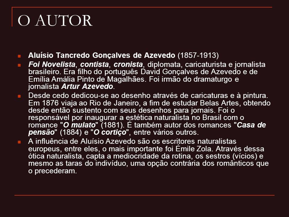 O AUTOR Aluísio Tancredo Gonçalves de Azevedo (1857-1913) Foi Novelista, contista, cronista, diplomata, caricaturista e jornalista brasileiro. Era fil