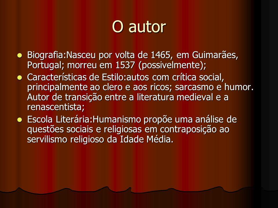 O autor Biografia:Nasceu por volta de 1465, em Guimarães, Portugal; morreu em 1537 (possivelmente); Biografia:Nasceu por volta de 1465, em Guimarães, Portugal; morreu em 1537 (possivelmente); Características de Estilo:autos com crítica social, principalmente ao clero e aos ricos; sarcasmo e humor.