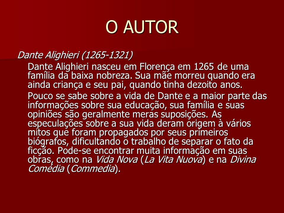 O AUTOR Dante Alighieri (1265-1321) Dante Alighieri (1265-1321) Dante Alighieri nasceu em Florença em 1265 de uma família da baixa nobreza. Sua mãe mo
