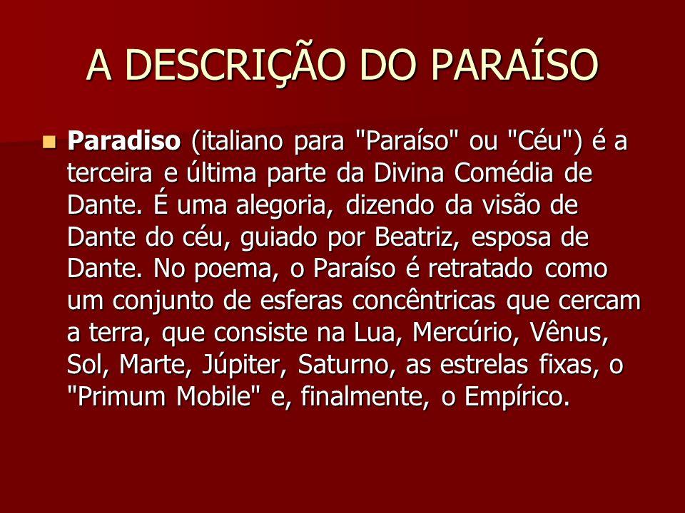 A DESCRIÇÃO DO PARAÍSO Paradiso (italiano para