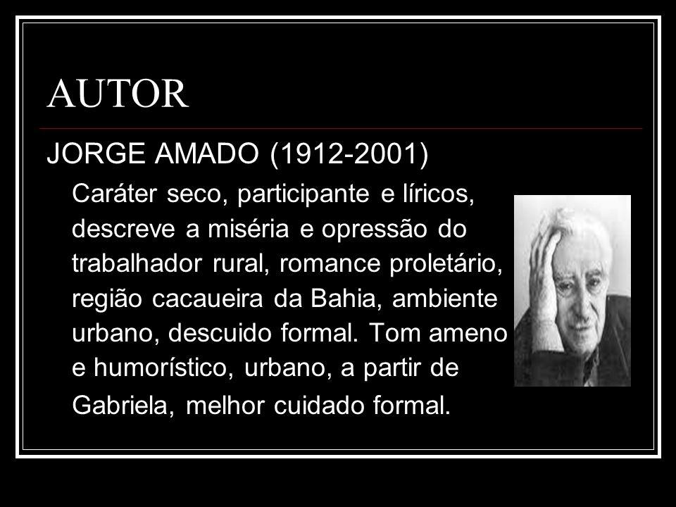 AUTOR JORGE AMADO (1912-2001) Caráter seco, participante e líricos, descreve a miséria e opressão do trabalhador rural, romance proletário, região cac