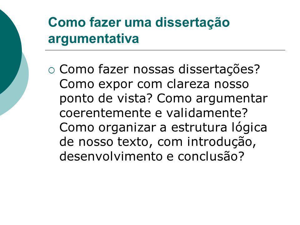 Como fazer uma dissertação argumentativa Como fazer nossas dissertações? Como expor com clareza nosso ponto de vista? Como argumentar coerentemente e