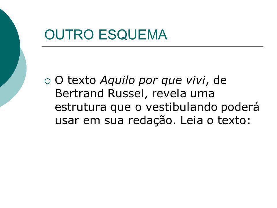 OUTRO ESQUEMA O texto Aquilo por que vivi, de Bertrand Russel, revela uma estrutura que o vestibulando poderá usar em sua redação. Leia o texto: