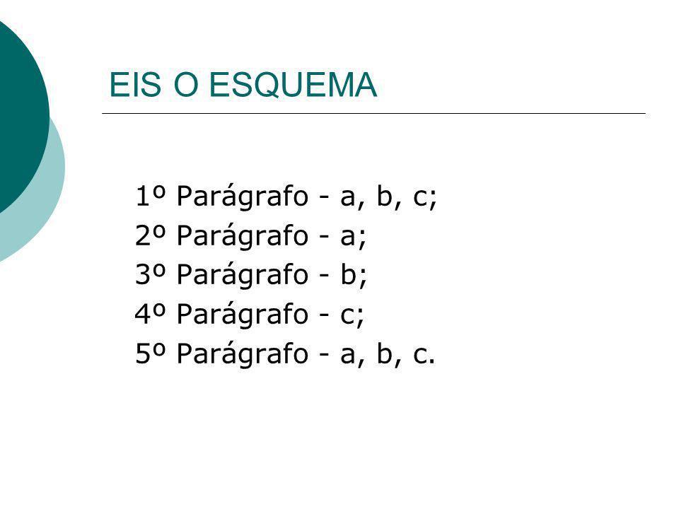 EIS O ESQUEMA 1º Parágrafo - a, b, c; 2º Parágrafo - a; 3º Parágrafo - b; 4º Parágrafo - c; 5º Parágrafo - a, b, c.
