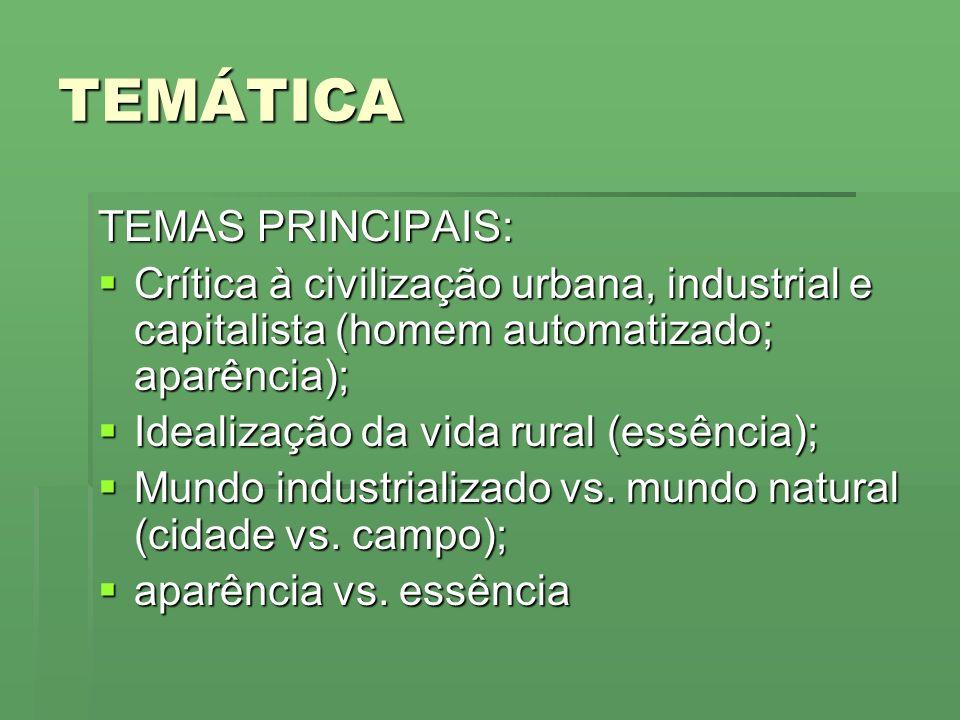 TEMÁTICA TEMAS PRINCIPAIS: Crítica à civilização urbana, industrial e capitalista (homem automatizado; aparência); Crítica à civilização urbana, indus
