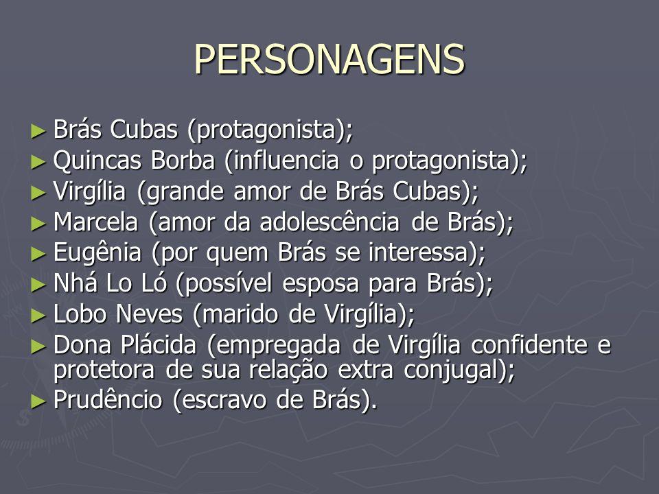 PERSONAGENS Brás Cubas (protagonista); Brás Cubas (protagonista); Quincas Borba (influencia o protagonista); Quincas Borba (influencia o protagonista)
