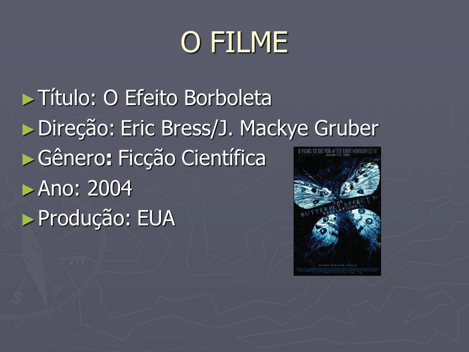 O FILME Título: O Efeito Borboleta Título: O Efeito Borboleta Direção: Eric Bress/J. Mackye Gruber Direção: Eric Bress/J. Mackye Gruber Gênero: Ficção